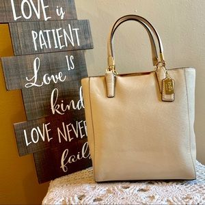 Coach Tote in Bone and Gold Hardware